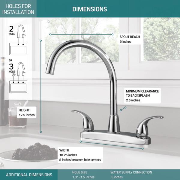 P299568lf Two Handle Kitchen Faucet