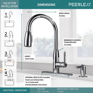 P188103LF-SD - Single Handle Kitchen Pull-Down with Soap Dispenser