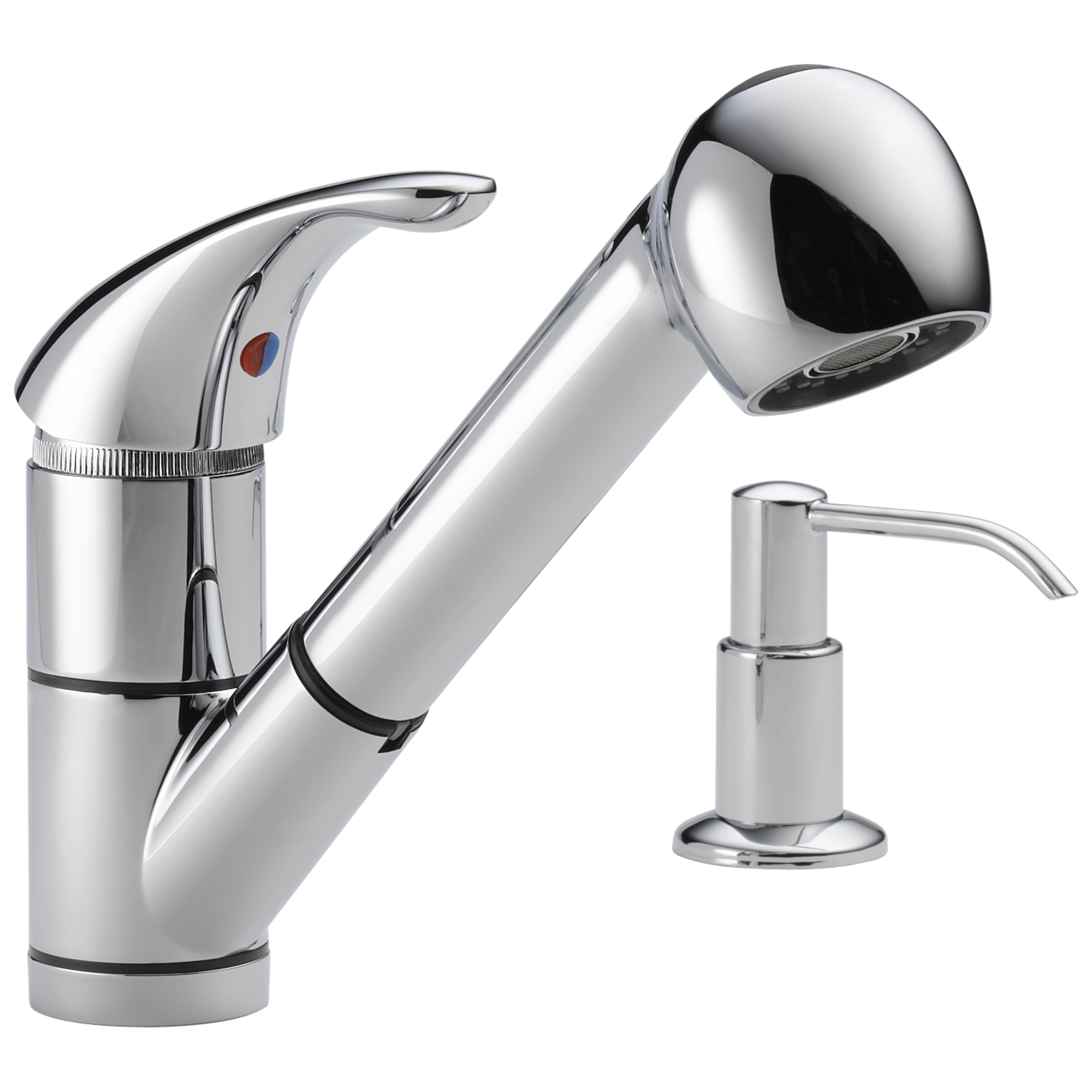 single handle kitchen pullout faucet with soap dispenser