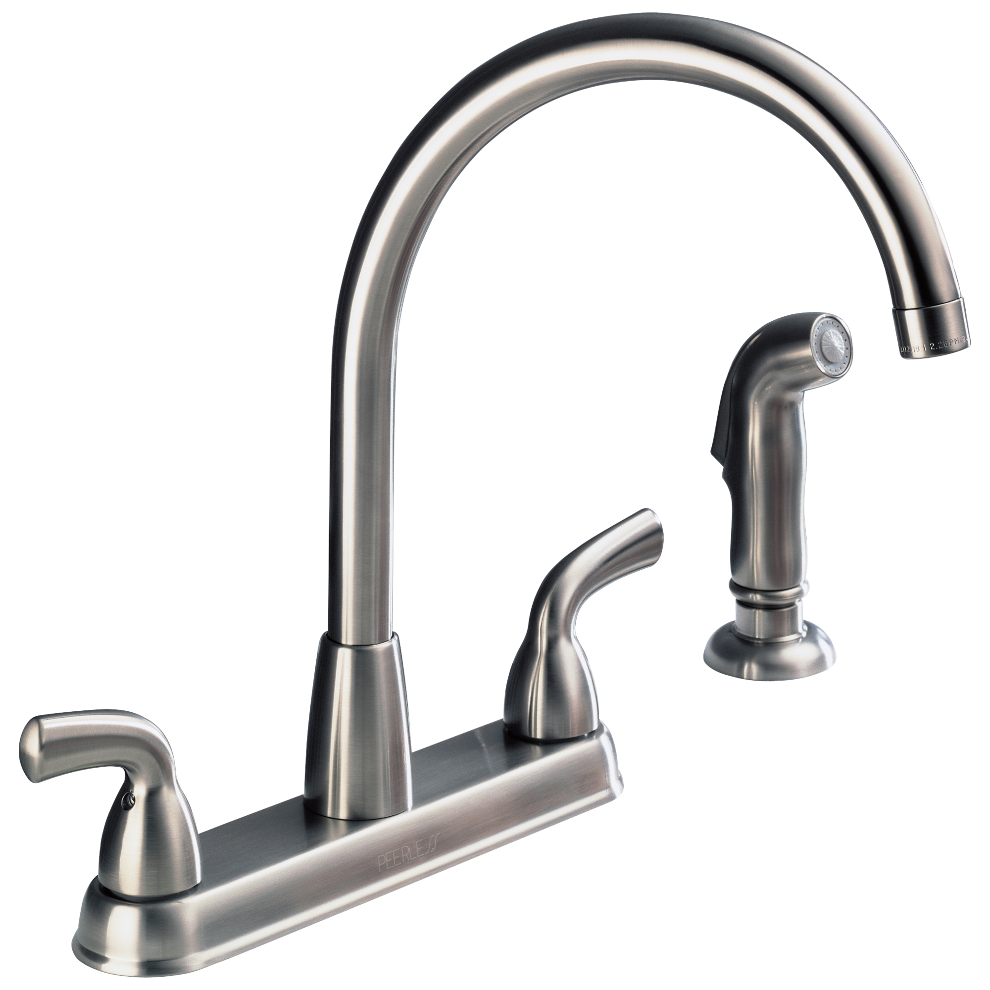 p99578lf ss d two handle high arc kitchen faucet with spray