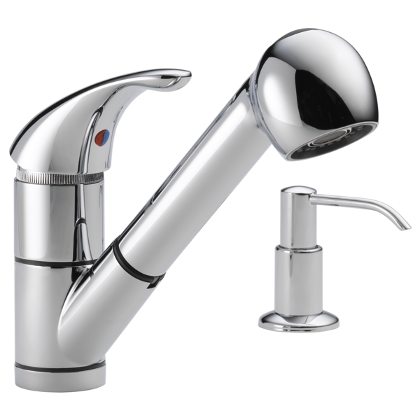 P18550LF-SD - Single Handle Kitchen Pull-Out Faucet with Soap Dispenser