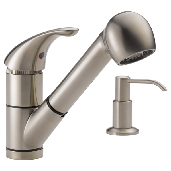 P18550lf Sssd Single Handle Kitchen Pull Out Faucet With Soap Dispenser