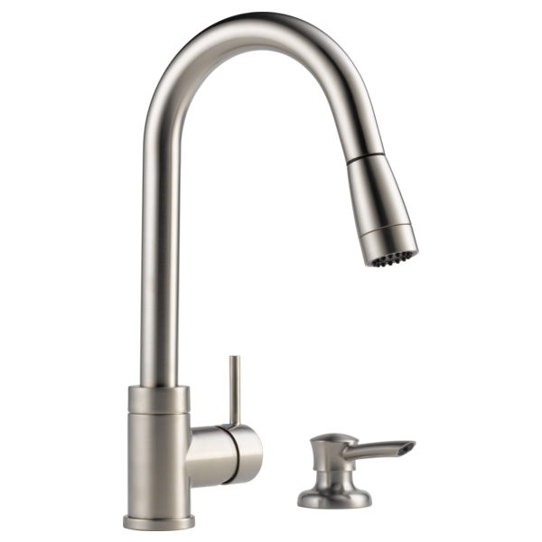 Integrated Pull Down Kitchen Faucet With Soap Dispenser