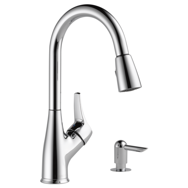 P88121lf Sd W Single Handle Pull Down Kitchen Faucet With Soap Dispenser