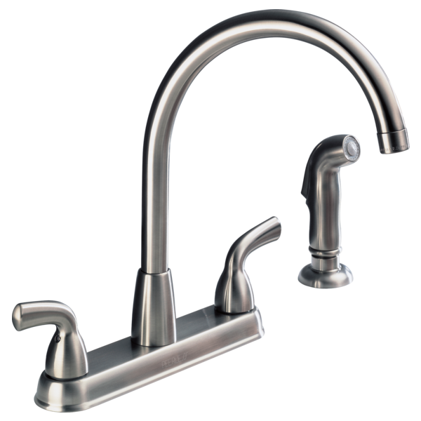 P99578lf Ss Two Handle Kitchen Faucet With Spray